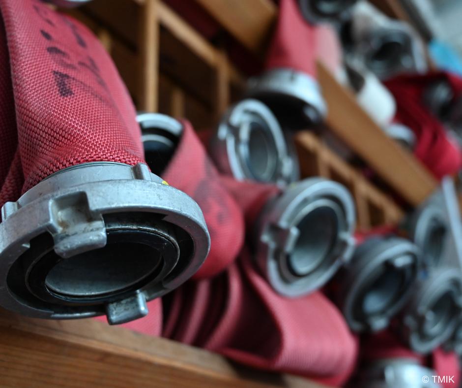 Feuerwehrschläuche in der Nahaufnahme
